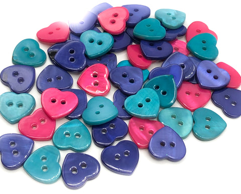shell mother of pearl natural heart shaped buttons cerise pink turquoise or dark purple mop button uk craft supplies