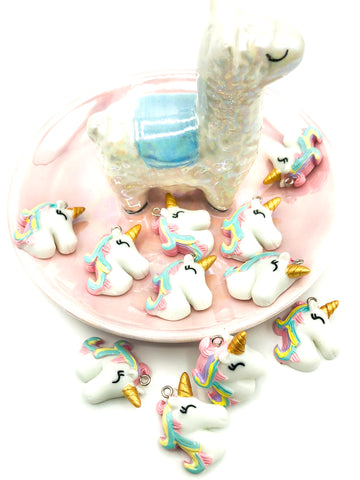 pastel mane unicorn resin charm pendant 30mm unicorns charms