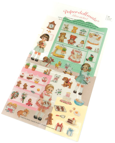 vintage childhood dolls girl girls toys style retro clear pvc stickers sticker pack planner