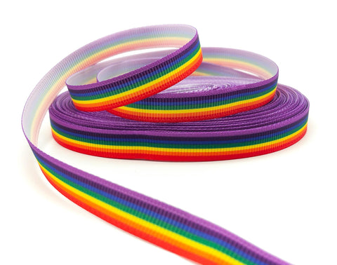 10mm very narrow grosgrain rainbow stripe striped ribbon ribbons uk craft supplies cute kawaii