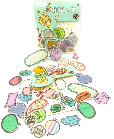 Kawaii Speech Bubbles & Words Translucent Sticker Flakes