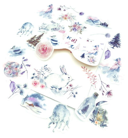 misty moutain sticker flakes pack 40 stickers nature animals plants trees birds purple lilac pink grey stationery uk cute nature wildlife