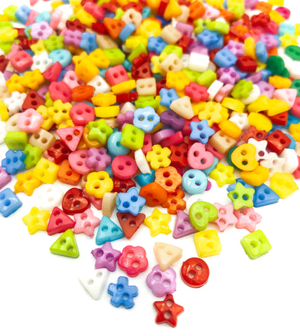 small tiny 5mm 6mm acrylic shape shapes buttons flower round heart square uk craft supplies