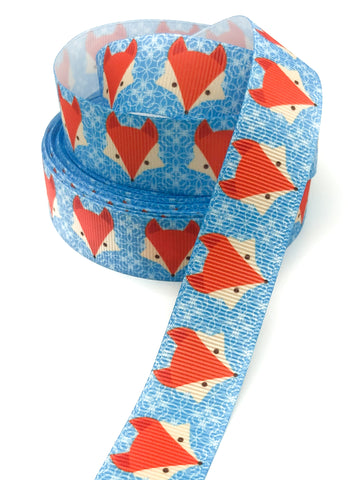blue fox grosgrain ribbon 22mm wide one yard foxes ribbons