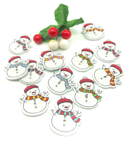 snowman snowmen wood wooden button buttons christmas festive