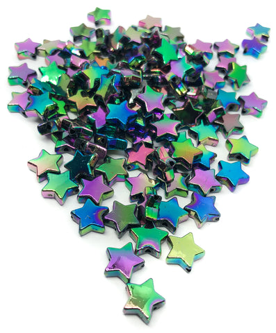 dark rainbow ab iridescent star acrylic beads stars deep oil on water