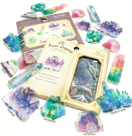 gems gemstone crystals translucent sticker flakes pack of 32 stickers