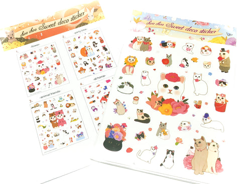 korean kawaii choo choo cat jetoy sticker pack of 4 sheets