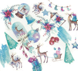 christmas deer turquoise and purple matte stickers pack of 40