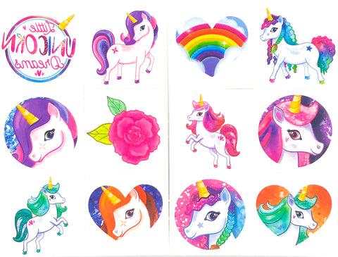 cute unicorn girl's temporary tattoo tattoos party gifts bags fillers unicorns uk stationery
