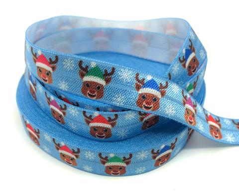 rudolph with santa hats on blue snowflake elastic ribbon 14mm elastics ribbons kawaii christmas fold over foe  reindeer heads uk cute kawaii craft supplies