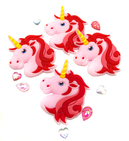 pink unicorn head silicone large fb flatback 56mm unicorns