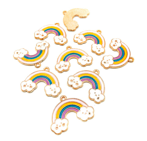 happy and sad rainbow and cloud clouds charm charms gold tone uk kawaii craft supplies pastel pink purple cute