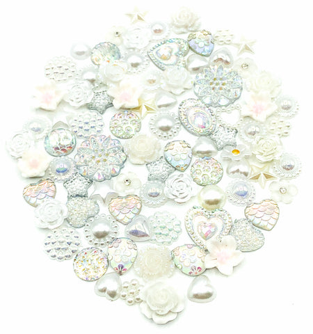 bundle of 25 white and silver silvery acrylic fb fbs flat backs embellishments uk craft supplies flower heart round resin