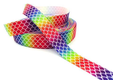 rainbow mermaid scale scales ombre elastic fold over elastics foe ribbon ribbons uk craft supplies bright rainbows
