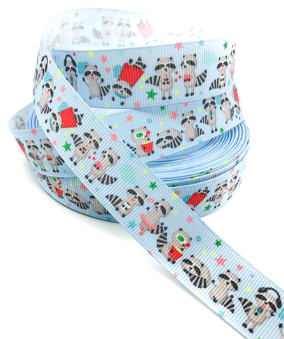 cute raccoon 22mm grosgrain ribbon on blue raccoons ribbons yard