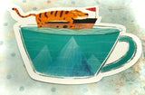 tiger on boat in mug cute teacup postcard post card cards uk kawaii stationery store pretty animal animals