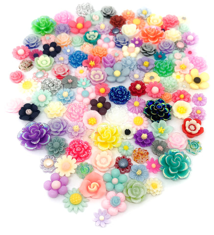 resin flower flat back bundle flowers glitter mixed