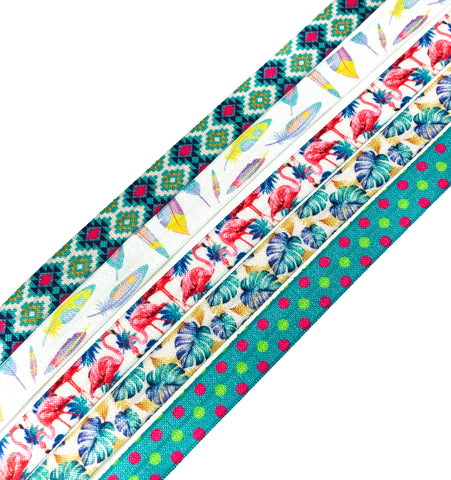 fold over elastic ribbon ribbons summer tropical pineapple flamingo aztec feathers leaves polka dots uk craft supplies elastics