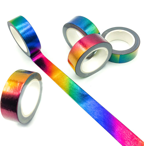 metallic rainbow foil foiled washi tape 10m rainbows colours cute stationery uk addict tapes