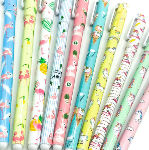unicorn and flamingo fine line black blue or coloured pen pens uk cute kawaii stationery