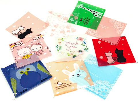 cello cellophane bags cute kawaii mixed pack packaging bag self seal uk giraffe owl bunny thank you hearts lace gift bags