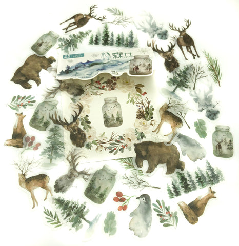 winter snowy forest animals and trees translucent sticker flakes pack of 40