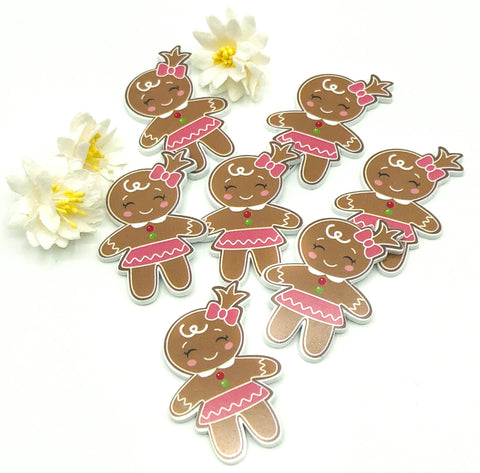gingerbread lady acrylic fb flat back christmas cookie fbs 39m