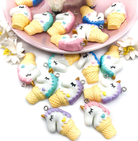 ice cream cone unicorn resin charm kawaii unicorns charms uk cute crafts supplies pastel colours
