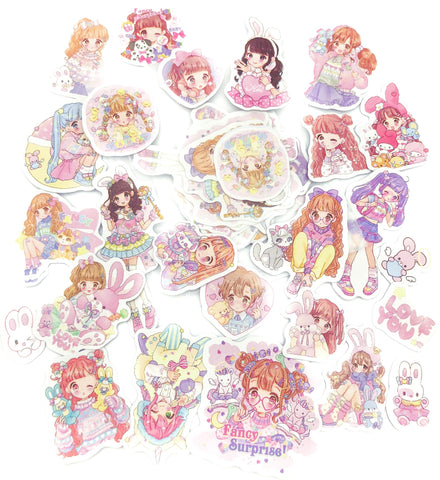 kawaii girl girls cute sticker flakes pack of 25 animals stickers flake