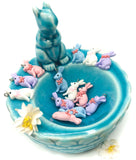 rabbit bunny resin charm pendant 26mm blue white pink lilac charms