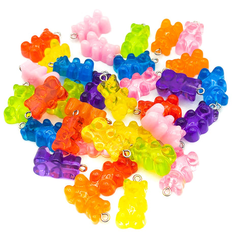 gummy bear sweet candy charm charms resin 24mm chunky larger translucent pink blue lime yellow orange red uk craft supplies bears
