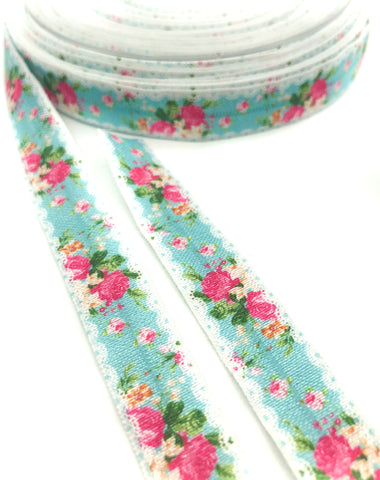 pink and turquoise rose elastic foe ribbon yard cute kawaii craft supplies ribbons roses floral spring flowers