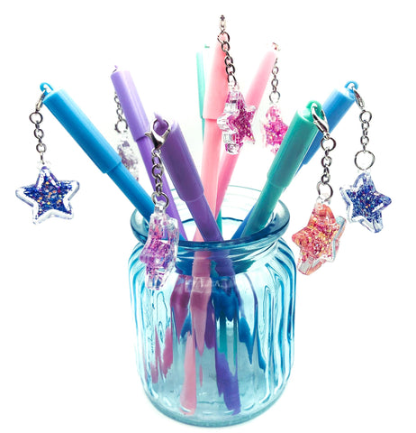 glitter star black fine line fineline gel charm pen pens cute kawaii stationery uk stars