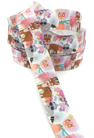 forest deer raccoon and fox 22mm wide grosgrain ribbon one yard