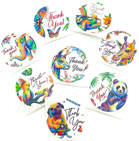 rainbow animal animals 25mm round thank you sticker stickers packing seals uk cute stationery supplies panda elephant pug butterfly