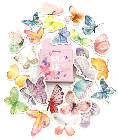 46 butterfly sticker flakes mini pink box stickers butterflies