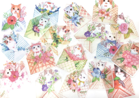 translucent cat sticker flake pack of 40 envelopes floral cats