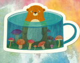 cute baby beaver bear in mushrooms mug cute teacup postcard post card cards uk kawaii stationery store pretty animal animals