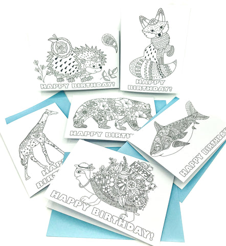colour in animal cards individual colouring happy birthday card fox bear tortoise hedgehog giraffe shark uk