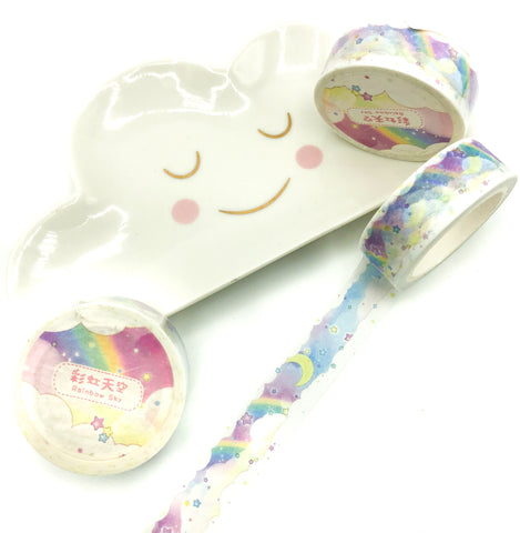 7m kawaii washi tape sky stars rainbow clouds tapes roll