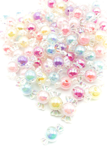 chunky 21mm pastel kawaii sweet bead beads clear plastic acrylic sweets uk craft supplies cute