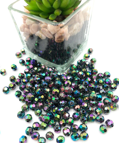 6mm faceted rainbow acrylic beads sparkly bead