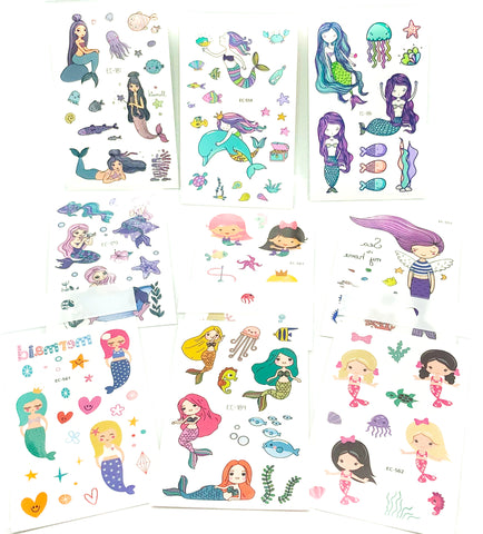 mermaid temporary tattoo tattoos sheet cute mermaids stationery kids gift gifts uk