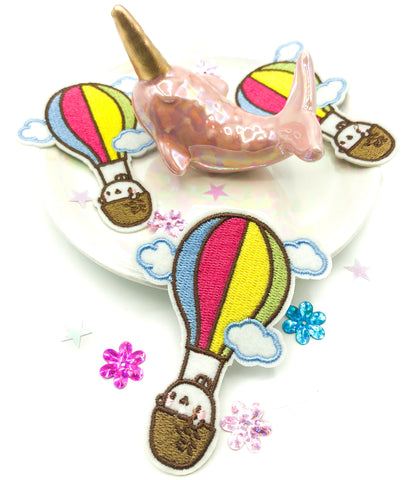kawaii bunny rabbit in hot air balloon iron on fabric applique patch