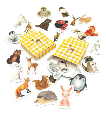 wild animals cute animal mini sticker flakes flakes box of 46 stickers uk cute stationery kawaii