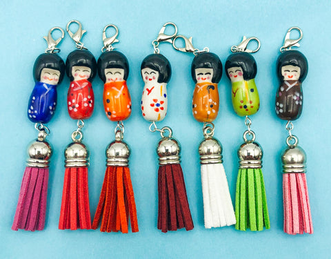 geisha japanese doll ceramic bead planner charm clip tassel suede planning supplies clips