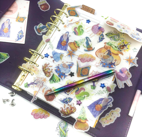 wizard magic translucent sticker flakes pack of 40 stickers planner magical spells