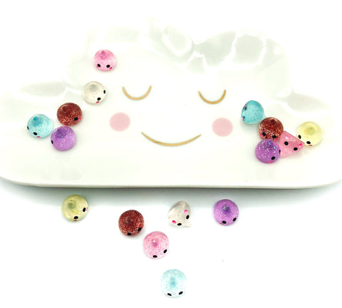 10mm mini glitter resin raindrop raindrops kawaii cute