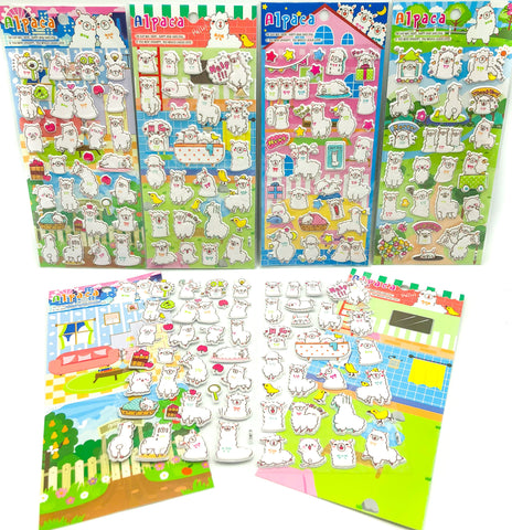 kawaii llama alpaca puffy sticker pack cute stickers uk stationery store